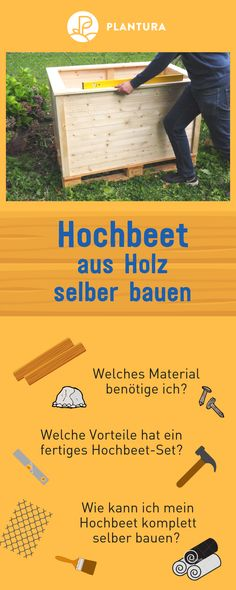 Hochbeet bauen: Anleitung zum selber bauen & Video Indication: build a raised bed of wood yourself: There are many ways to build a raised bed yourself. We show you how to do it and give tips on the material! More about Plantura. Garden Shed Diy, Herb Garden Design, Vegetable Garden Design, Building Raised Beds, Raised Garden Beds, Container Gardening Vegetables, Succulents In Containers, Hydroponic Gardening, Rooftop Garden