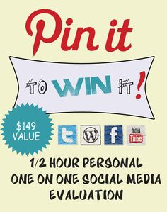 PIN IT and the 1/2 hour personal, ONE ON ONE consult with me could be YOURS by this evening! Pin this and win the 1/2 hour consulting appointment! We'll pick a winner 4/23 at 10:00 PM EST! GET READY, GET SET...PIN!