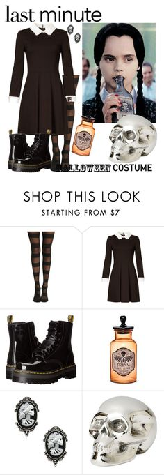 """""""Last Minute Costume: Wednesday Addams"""" by raspberry-stegosaurus ❤ liked on Polyvore featuring Hot Topic, ERIN Erin Fetherston, Dr. Martens, Fad Treasures and Jan Barboglio"""