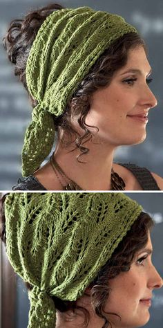 Knitting Pattern for Jasmin Headwrap - This kerchief with ties features a leaf lace pattern. Designed byKristeen Griffin-Grimes for Interweave