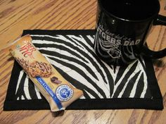 Zebra Coffee or Tea Mug Rug. $6.00, via Etsy.