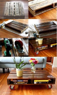 DIY Couchtisch Recycling Palette - Home Decor Pallet Patio Furniture, Recycled Furniture, Furniture Projects, Diy Furniture, Pallet Tables, Garden Furniture, Diy Coffee Table, Diy Table, Palette Diy