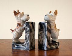 Bookends Scotty Dog Pair Vintage Ceramic by SentimentalFavorites,
