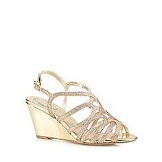 Debut - Gold glitter strap high wedge sandals