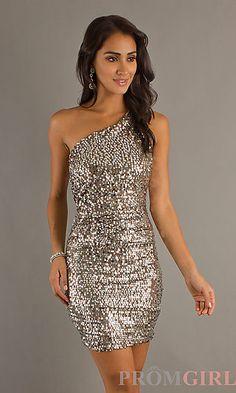 Short Sequin One Shoulder Silver Dress at PromGirl.com