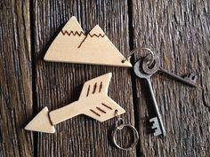 Mountain & Arrow Wood Keychain  Handmade Keychain  by WoodWell