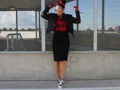 pencil skirt, midi skirt, pencil skirt, black, sneakers, plaid, leather, leather jacket