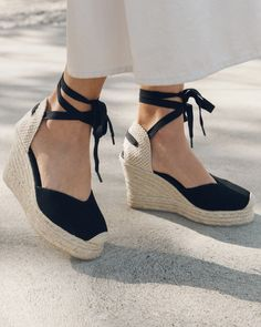 Mallorca Platform Wedge Espadrille We took the height of our Sevilla (which you loved with that platform) and added a flattering V-shaped topline. Your feet will have no idea they're so far off the ground thanks to the cushy platform below. Espadrilles Outfit, Wedges Outfit, Black Espadrilles Wedges, Wedge Sandals, Wedge Shoes, Summer Wedges Shoes, Shoe Wedges, Espadrille Shoes, Wedges