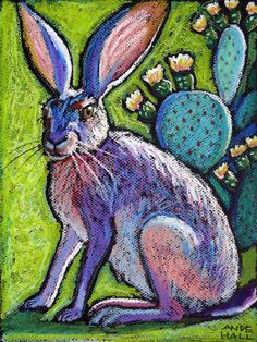 9x12 Original Jackabbit Painting Oil Pastel by AndeHallFineArt