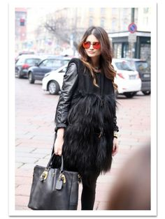 Giant Bag. Fur (adds texture pop & trending), leather, leggings. Shades. MBFW street style 2014