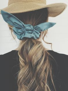 Dusty Blue Bunny Ear Scrunchie Scarf Hairstyles, Braided Hairstyles, Tie Headband, Blue Bunny, Floral Hair, Weekend Outfit, Pretty And Cute, Dusty Blue, Top Knot