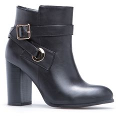 ShoeDazzle Booties Rasheeda Womens Black via Polyvore featuring shoes, boots, ankle booties, black, booties, short black boots, black bootie boots, black bootie, chunky heel bootie and chunky heel ankle boots