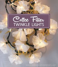 These coffee filter twinkle lights are gorgeous! They take something that is already awesome, twinkle lights, and make them MORE awesome! We've got directions and also a video for those of you who like seeing how things are done. FYI LED twinkle lights do NOT get hot and are incredibly safe as long as the cords are not frayed.