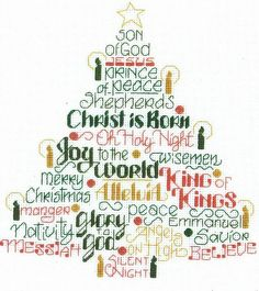 Lots of Christmas words in the shape of a Christmas tree with added candles in…
