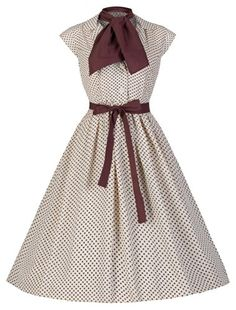 Lindy Bop 'Penny' Vintage 1950's Hepburn Style Chiffon Polka Dot Shirt Dress (Cream) Lindy Bop http://www.amazon.com