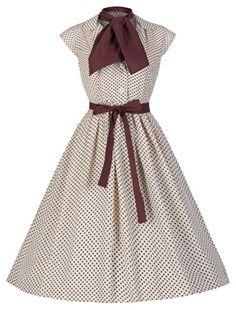 """Lindy Bop """"Penny"""" Millésime Style Hepburn Mousseline De Soie De Point De Polka Robe 1950 (42, Crème) Lindy Bop http://www.amazon.fr/dp/B00KTBA2SK/ref=cm_sw_r_pi_dp_1e2Bub0EM7H02"""