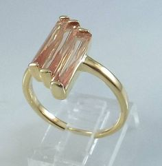 Ladies Champagne CZ 18K Yellow Gold Overlay Ring~Size 5 1/2-Free Gift Box