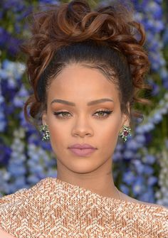 At the Christian Dior show in October, Rihanna's matte lilac lip mimicked the venue's gorgeous floral theme.