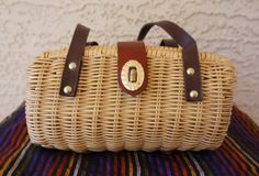 Vintage 1960s Woven Wicker Barrel Hand Bag w/ by CeeLostInTime