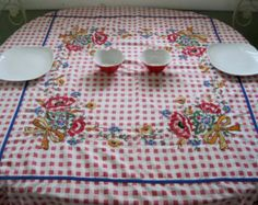 """Vintage Tablecloth, Red Checked Tablecloth, Amazing Hand Embroidery, Kitchen Decor, 52 x 45"""", Retro Kitchen, 1950s Kitchen,Farmhouse Chic $55.00"""