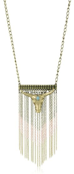 Gold Cow Skull Chain Necklace