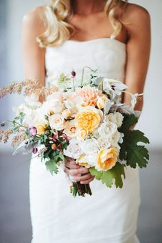 The bridal bouquet will be a loose clutch similar this image...