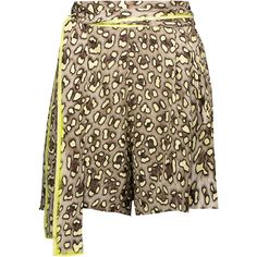 Roberto Cavalli - Pleated Leopard-print Silk Wrap Shorts ($294) ❤ liked on Polyvore featuring shorts, leopard print, tie-dye shorts, print shorts, tailored shorts, wrap shorts and silk shorts