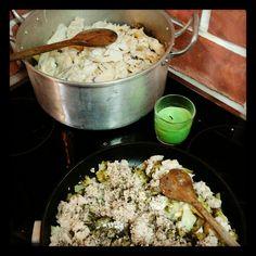 Preparação de roupa velha de Natal: versão tradicional e versão vegetariana (com atum d' O Talho Vegetariano)