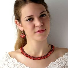 Red jewelry set Gift for women Red bead necklace by LioraBJewelry