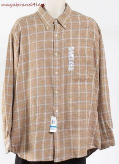 John Ashford CASUAL SHIRT MENS BUTTON FRONT SHIRT Long Sleeve Shirt Brown SZ XL #JohnAshford #ButtonFront