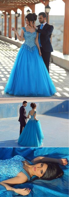 TBGirl Princess Cinderella Blue Quinceanera Dresses Rhinstone Beaded  Prom dresses