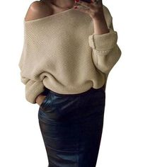 Off Shoulder Knitted Oversize Sweater