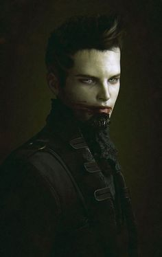 Beautiful picture by Olivier Ponsonnet describing young vampire man, having cognized taste of blood. He is enigmatic and quite attractive.