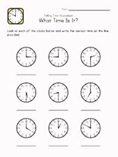 Clock Worksheet   Learning    Clock Worksheets