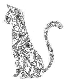 coloring page for adults cat - Google Search