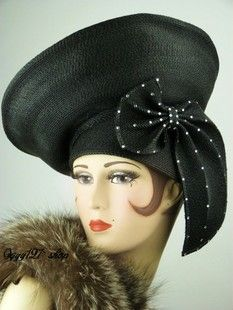 Victoria black bow wave point lady hat antique hat Vintage sold  $449.76