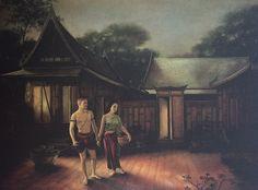 """Khun Phaen abducting Wanthong"", oil on canvas, 1977, by a Thai national artist Chakrabhand Posayakrit"