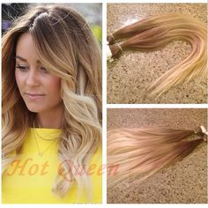 Hot Brazilian Remy Blonde Ombre Straight Tape In Human Hair Extensions 40Pc 100g #HotQueen #HairExtension