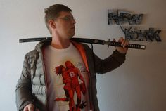 "Myself with Outfit from ""AI - Riders On The Storm"", ""Bench"" and ""Hattori Hanzō Sword"" ;)"