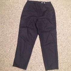 100% Linen polyester lined dress pants Eddie Bauer nice condition lined pants.  These have a liner & are dry clean only.  Straight leg.  Got these at a mass outlet sale but never wore them as I couldn't try them on that day.  Rich Navy Blue color. Eddie Bauer Pants Straight Leg