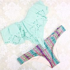 Obsessed with this color palette! {L*Space Hunter Rose Bandeau Monique Bottom in Plumage Print} #bikini