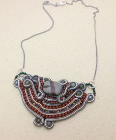 Soutache Bib Necklace with Agate Goldstone and by RestlessArtMpls, $50.00