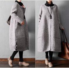 Women winter warm long woolen coat - Tkdress - 1