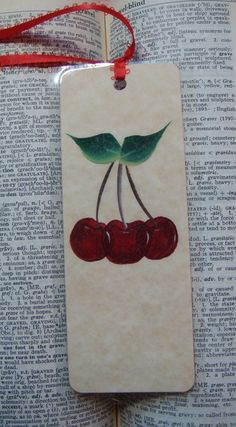 Hand Painted Bookmark with Red Cherries by bunnyhutchdesigns on Etsy, $4.50