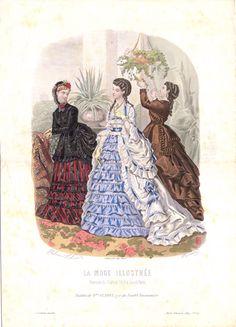 Fashion plate, 1869 France, La Mode Illustrée - Heloise Leloir