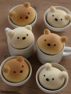 I have no idea what these are - marshmallows? Cookies? I don't care! They are adorable!  クマちゃんパンレシピ&カフェ風サンドイッチ :: happy — Designspiration