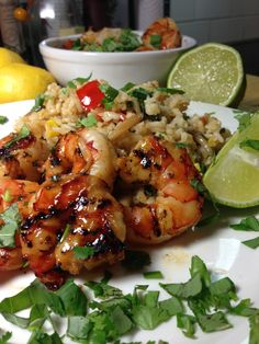 Thai Chili Lemongrass Grilled Shrimp with Sweet Basil & Lime Fried Rice – Delightful-Delicious-Delovely Marinated Grilled Shrimp, Grilled Shrimp Recipes, Fish Recipes, Seafood Recipes, Asian Recipes, Thai Recipes, Seafood Diet, Baked Shrimp, Soup Recipes