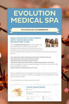 Receive deep discounts as a member of the Evolution Medical Spa Advantage Club on Microdermabrasion, Chemical Peels, Dermapen, Botox Cosmetic, Dermal Fillers, and more!