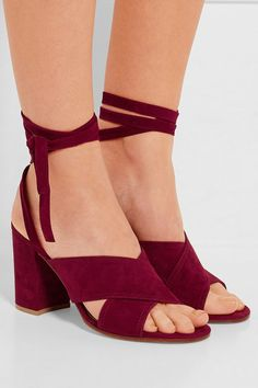 Heel measures approximately 85mm/ 3.5 inches Claret suede Ties at ankle  Made in Italy
