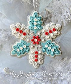 Handcrafted Polymer Clay Ornament by Kay Miller on Etsy Polymer Clay Ornaments, Polymer Clay Christmas, Polymer Clay Projects, Polymer Clay Creations, Polymer Clay Crafts, Felt Ornaments, How To Make Ornaments, Polymer Clay Embroidery, Biscuit